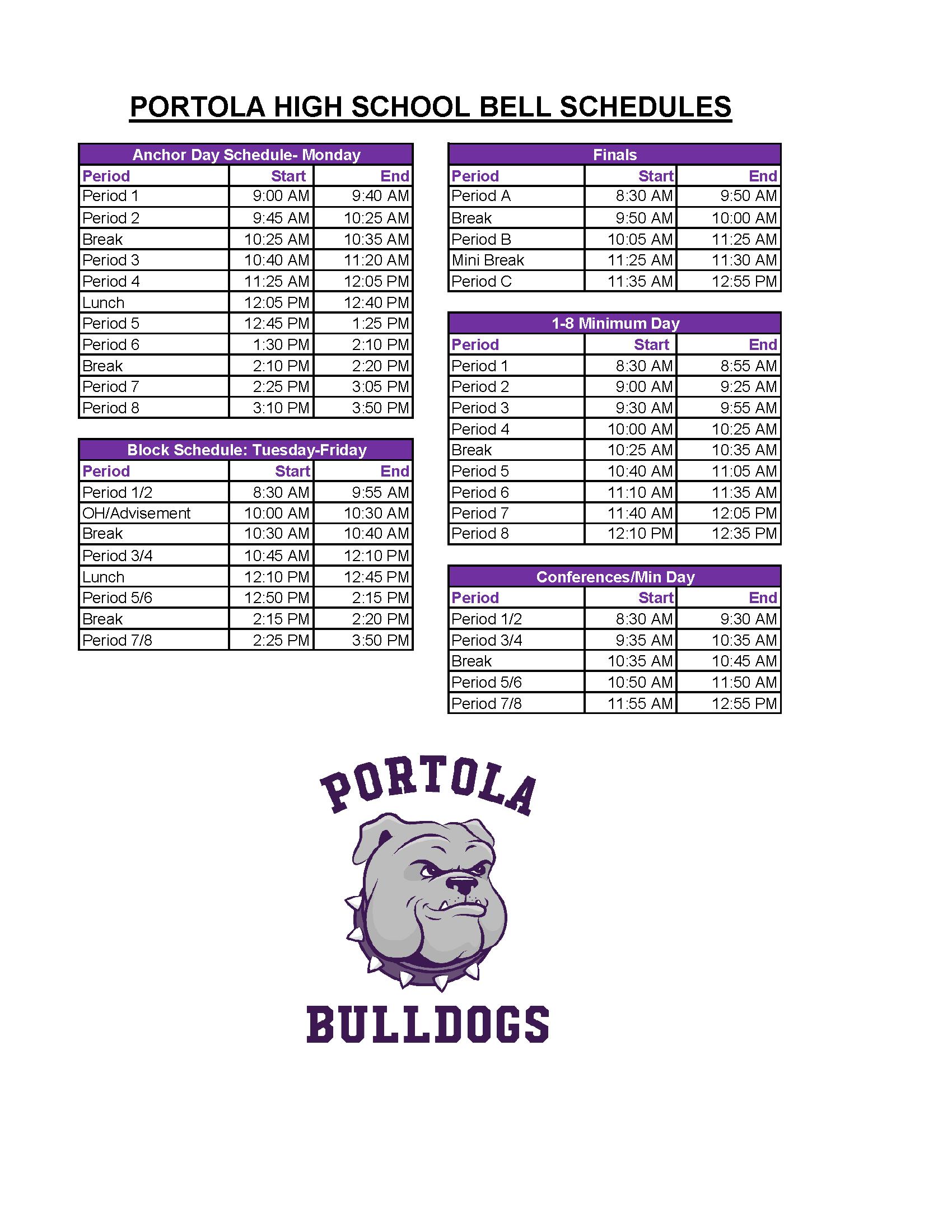 PHS Bell Schedule 2021-22