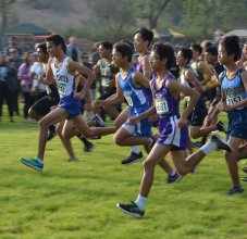 Boys cross country race