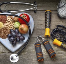 healthy foods and exercise equipment